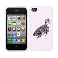 Fincibo (TM) Premium Hard Crystal Plastic Snap On Protector Cover Case Front and Back for Apple iPhone 4 4S, Cute Turtle