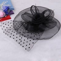 Black Feather Organza Mesh Rose Hair Flower Clip Burlesque Bridal Party
