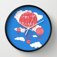 Hot Air Balloon Wall Clock by lush tart