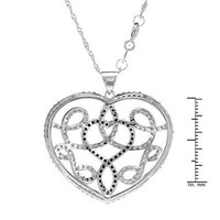 Sterling Silver Onyx Cubic Zirconia Heart Necklace - 			        	For Your Little One: Designer Pieces Shop