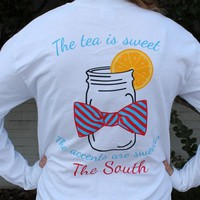 Sweet Tea Long Sleeve Tee in White by Lauren James