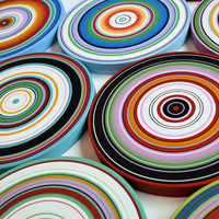 "Amy Giacomelli Paintings Art Sculpture wood circles Original - 9 piece large set ... ""Concentric Logic"""