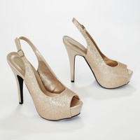 Glitter Peep Toe High Heel Slingback - David's Bridal