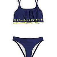 Splendid - Girl's Two-Piece Ruffled Laser-Cut Tankini Set - Saks Fifth Avenue Mobile