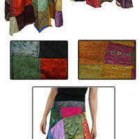 Autism - Autism Awareness - Recycled Sari Wraparound Skirt
