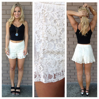 Cream Lace Flare Shorts