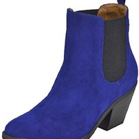 Qupid Muse-63 Royal Blue Velvet Women Cowboy Ankle Boots