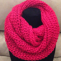 "WINTER SALE: BIG approx. 12x24"" Warm Soft and Cozy Solid Crochet Infinity Scarf"