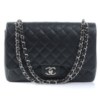 CHANEL Caviar Maxi Double Flap Black