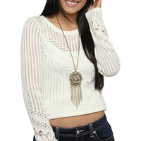 Long Sleeve Crop Sweater with Pointelle Knit and Scoop Neckline