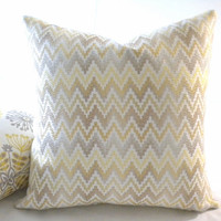 Chevron Yellow Grey pillow cover multicolor, fabric both sides 18x18