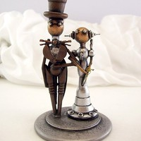 Small or CUPCAKE Elegant Robots Wood Wedding Cake Topper Space Princess Bride and Groom Top Hat Tails