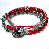 Black Hematite Rhinestone Skull Red Crystal Leather Wrapped Bracelet