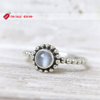 ON SALE - Moonstone beaded sterling silver Ring