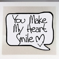 Romantic Valentines Day Card. Make My Heart Smile. White Love You Note Card.