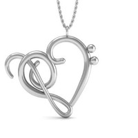 Sterling Silver .925 Necklace Music Note Symbol: Heart of Treble and Bass Clefs Pendant