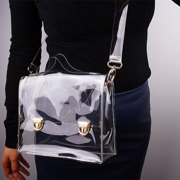 Clear Convertible Satchel PVC Vinyl Plastic Purse Bag Handbag - White Transparent with Detachable Shoulder Strap - Women Ladies - Handmade