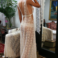Heirloom Lace Bridal Nightgown Embroidered Ivory French Lace 20's Inspired Lingerie Silk Details