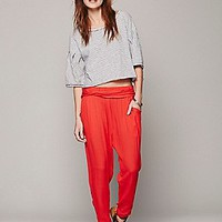 Free People Womens Got Me Twisted Solid Harem Pant -