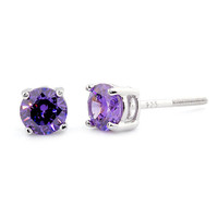 1.0ct 5mm Round Brilliant-cut Purple Amethyst Ice CZ Screw Back Stud Earrings Solid 925 Sterling Silver, 025-1001