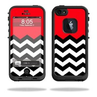 Protective Vinyl Skin Decal Cover for LifeProof iPhone 5 / 5S Case fre Case Sticker Skins Red Chevron