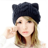 Knitty Kitty Handmade Knit Wool Beanie Cap