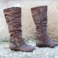 ForeverLink Tamika-52 Slouchy Buckle Knee High Boot | Shoes 4 U Las Vegas