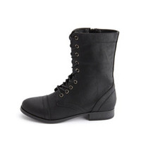 DISTRESSED LACE-UP COMBAT BOOT
