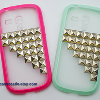 Samsung Galaxy S3 mini Case - Silver Pyramid Studded on Frosted Translucent Samsung Galaxy S3 mini Case, 5 colours for you choose
