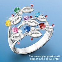 """Our Family Of Love"" Personalized Birthstone Ring - Personalized Jewelry"