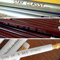 ANCHORMAN inspired pencil gift set Will Ferrell by Earmark on Etsy