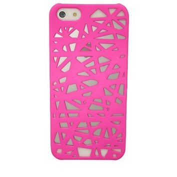 Punk Bird Nest Net Apple Hard Snap-on Case Cover Compatible with iPhone 5-Rose