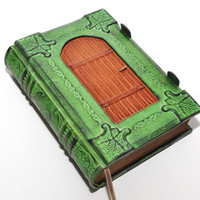 A fairy's dream - Green Handmade leather journal