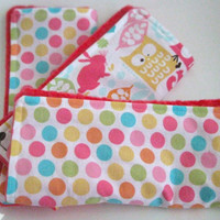 Girl Burp Cloth Set (3) Woodland & Polka Dots - Pink Minky Burp Cloths