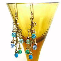 Shades of Blue Crystals and Gold Branch 14k GF Dangle Earrings
