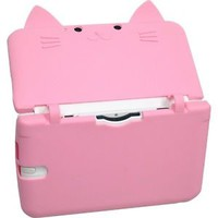 "Cute cat ""Neko Nyan"" Nintendo 3DS LL XL Silicon Hard Case Cover Pink  No.S1"