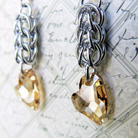 Light Gold Crystal Heart Earrings - Persian Chainmaille Earrings