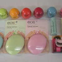 Eos Lip Balm 8 Pack .25oz, Eos Lip Balm Stick 3 Pack .14oz, Eos Hand Lotion 3 Pack 1.5oz, & I Envy Eyelashes KPE12