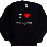 I Love Heart Red Squirrels Black Kids Sweatshirt