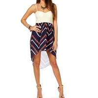NavyRed Zig Zag Hi Lo Dress