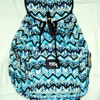 Victoria's secret pink green/blue chevron striped backpack and follow me for a spam!!