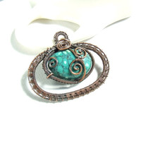 Natural turquoise pendant blue green stone statement copper jewelry
