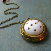 Celestial Locket - Gold Stars Pendant - Vintage Starry Sky Necklace - White, Gold, Brass - Gift Box