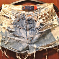 High Waisted Distressed Studded Tye Dye Denim Shorts by Moleek7