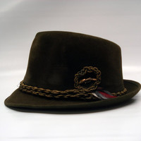 Green velour fedora / size 7