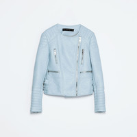 PASTEL COLOURED FAUX LEATHER ZIP JACKET