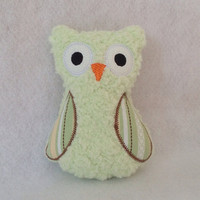 Soft Mint Green Plush Owl with Brown White and Green Stripped colored wings