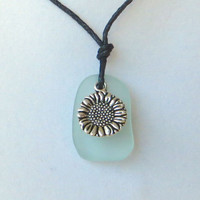Aqua Sea Glass Sunflower Necklace by WaveofLife