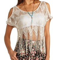 METALLIC COLD SHOULDER FRINGE CROP TOP
