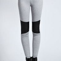 Melrose Grey Marl Leather Look Insert Leggings